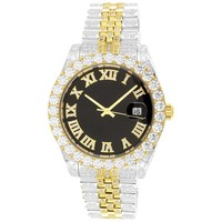Two-Tone Gold 40mm Presidential IcedOut Band Watch