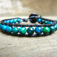Mens Unisex Beaded Leather Single Wrap Bracelet with Blue Green Jasper Beads on Black Leather Stackable Bracelet