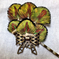 Baby peacock feather and bronze bow bobby hair pin