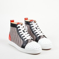 DCCK2 Christian Louboutin Men  sChristian Louboutin Black, White, and Red Lou Spike Hi Top Sneakers