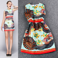 Red Lemon Digital Print Sleeveless Empire Waist  Bodycon Chiffon Mini Dress