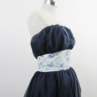 1950s Party Dress Strapless Organza Beauty in by 4birdsvintage