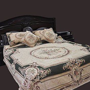 Tache Chenille Woven Floral Medallion Green Forest Pillowcases (DSC0012)
