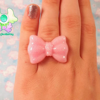 Fairy Kei Kawaii Bow Ring - Pink with Glitter