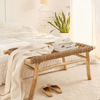 Elle Woven Bench | Urban Outfitters