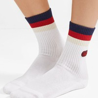 Gucci Appliqu¨¦d Striped Ribbed Cotton-blend Socks #1089