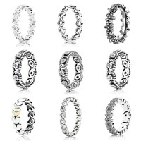 Sparkling Heart Stacking Infinite Love Ring With Crystal 925 Sterling Silver Ring For Women Wedding DIY Pandora Jewelry