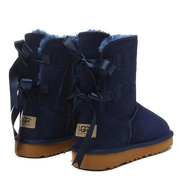 Tagre™ UGG Women Fashion Bow Fur Wool Snow Boots Calfskin Shoes