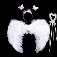 2017 Fashion Children Girls Princess Feather Angel Wings Headband Magic Wand Sticks Halloween Party Cosplay Props Accessories