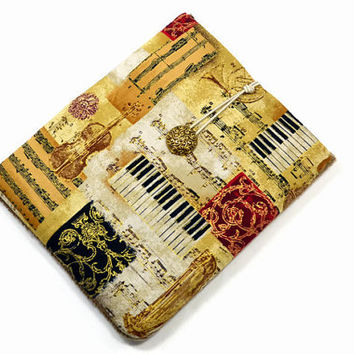 Hand Crafted Tablet Case from Musical Instruments Fabric / Case for iPad, iPad Mini, Kindle Fire HD, Samsung Galaxy HD