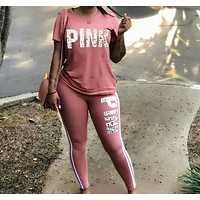 Victoria's Secret 2018 Tide Brand Fashion Print Pink Casual Women Set Pink