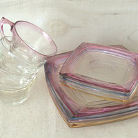 Vintage Hazel Atlas Glass Plates, Jewel Tone Clear Glass Plates, Retro Kitchen Snack Sets - Set of Four