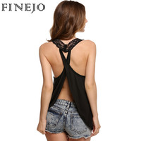 FINEJO Sexy Lace Backless Tank Top Women Cross Back Strap Patchwork V Neck Camis Vest Off Shoulder Summer Vests Solid Tank Tops