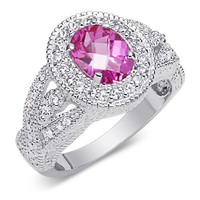 LingMei 10mm*10mm Round Cut Cz Created Pink Stne Women's Ring US Size 7