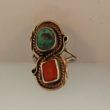 Vintage Old Pawn Native American Sterling Silver Ring with Turqouise and Coral Stones Size 6.5