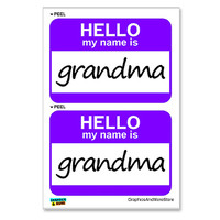 Grandma Hello My Name Is - Sheet of 2 Stickers