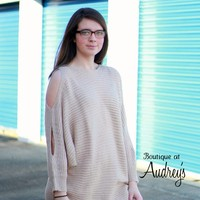 Easel Beige Sweater with Split Sleeves