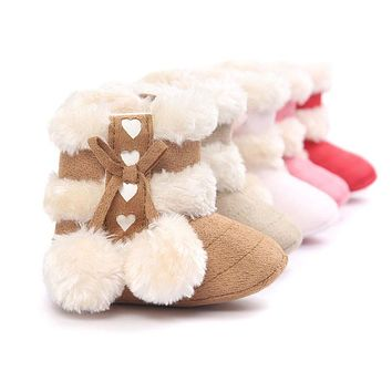 2016 Cute Ball Winter Boots Fashion Soft Bottom Baby Moccasin Baby First Walkers Baby Warm Boots Non-slip Boots for Baby Girls