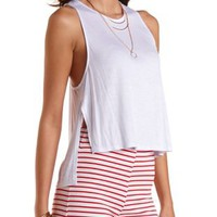 Dropped Shoulder Slit Tank Top by Charlotte Russe