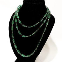 """Czech Glass Flapper Necklace, Art Deco  1920s, Green Glass Bead Necklace, Molded Beads, 58"""" Long, Wrap Around Necklace, Art Deco Jewelry"""