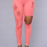 Glistening Jeans - Coral