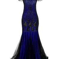 1920s Sequined Maxi Flapper Dress