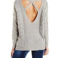 Gray Cable Knit Pullover Sweater with Caged Back by Charlotte Russe