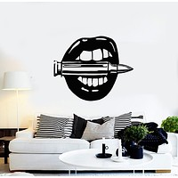 Vinyl Wall Decal Sexy Girl Female Lips Woman Bullet Shooting Range Stickers Mural (g670)