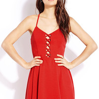 FOREVER 21 Edgy Girl Fit & Flare Dress Red Large