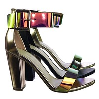 Frenzy94 Holographic Iridescent Block High Heel Dress Sandal w Thick Ankle Strap