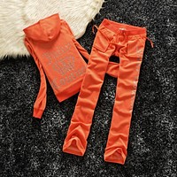 Juicy Couture Studded Logo Crown Velour Tracksuit 605 2pcs Women Suits Orange