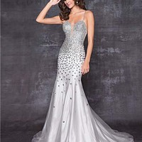 Silver Sparkle Chiffon Rhinestone Low Back Prom Gown - Unique Vintage - Cocktail, Pinup, Holiday & Prom Dresses.