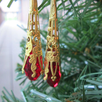 Long Drop Earrings,Ruby Red and Gold, Christmas Jewelry, Holiday Fashion, Winter Accessory, Stocking Stuffer, Nickel Free