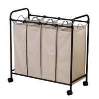 Amazon.com: Household Essentials Rolling Quad Sorter Laundry Hamper with Natural Polyester Bags, Antique Bronze Frame: Home & Kitchen