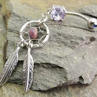 Dream Catcher Belly Button Ring Jewelry Amethyst Purple Jasper Feather Navel Jewelry