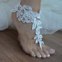 5 pairs, barefoot sandals, iovry Beach wedding shoes, bangle beach anklets, barefoot sandals, bridal bride bridesmaid, Free ship