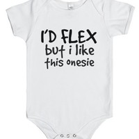 i'd flex but i like this Onesuit-Unisex White Baby Onesuit 00