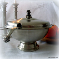 Fabulouus Punch-bowl in Norwegian pewter with matching ladle  by Savo