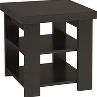 Hollow Core Contemporary End Table, Black Forest Finish