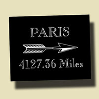 Paris Mileage Distance Print Customizable Wall Decor Home Decor M002B