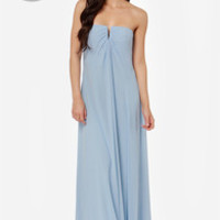 LULUS Exclusive Glide and True Light Blue Strapless Maxi Dress
