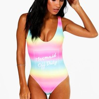Crete Rainbow Mermaid Slogan Swimsuit | Boohoo