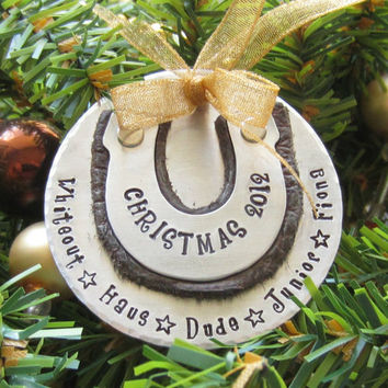 Personalized Horse Ornament-Hand Stamped Holiday Ornament-Horse Ornament--Horse Lover Christmas Gift