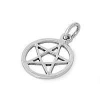 """Sterling Silver Wicca Traditional Pentagram Pendant 20MM (Free 18"""" Chain)"""