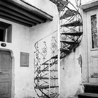 Black and white printable, black white art, digital download photography, printable photos, Greece print, instant download, spiral staircase