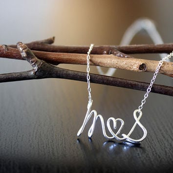 Script Letter Alphabet Couple Name Initials Love Wire Silver Gold Necklace - Delicate Simple Modern Jewelry - PROUD, lovers by 5050 STUDIO