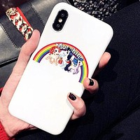 Moschino New Popular Lovely Rainbow Little Pony Mobile Phone Case iphone 6 6plus iphone 7 7plus iphone 8 8plus iphone X +Soft Protective Case I12541-1