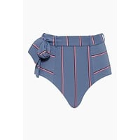 Radiance Belted High Waist Bikini Bottom - Grey Stripe Print