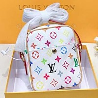 LV New fashion multicolor monogram print  leather shoulder bag crossbody bag White