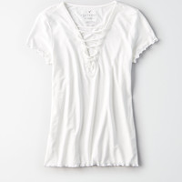 AE Soft & Sexy Lace-Up Front T-Shirt, True Black